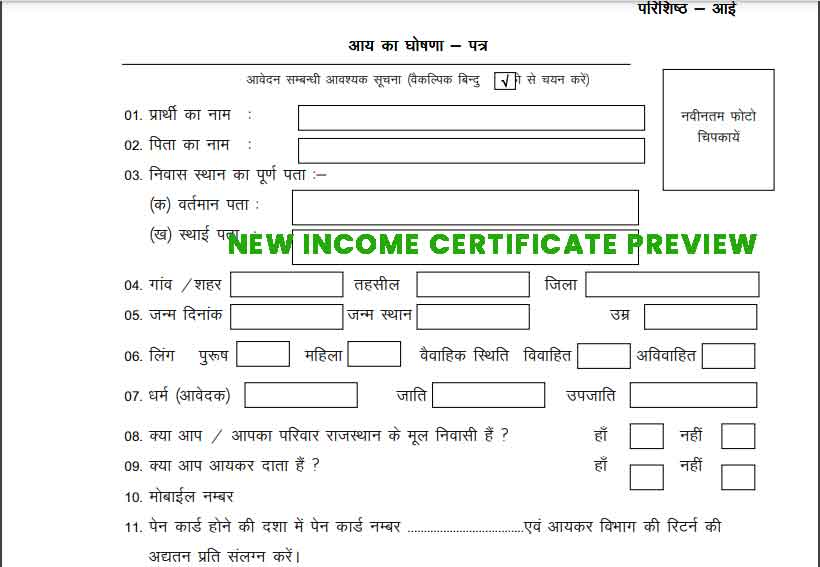 rajasthan-income-certificate-form Preview PDF