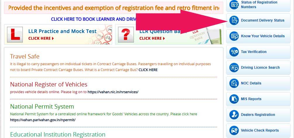 ts transport Document-Delivry-Status