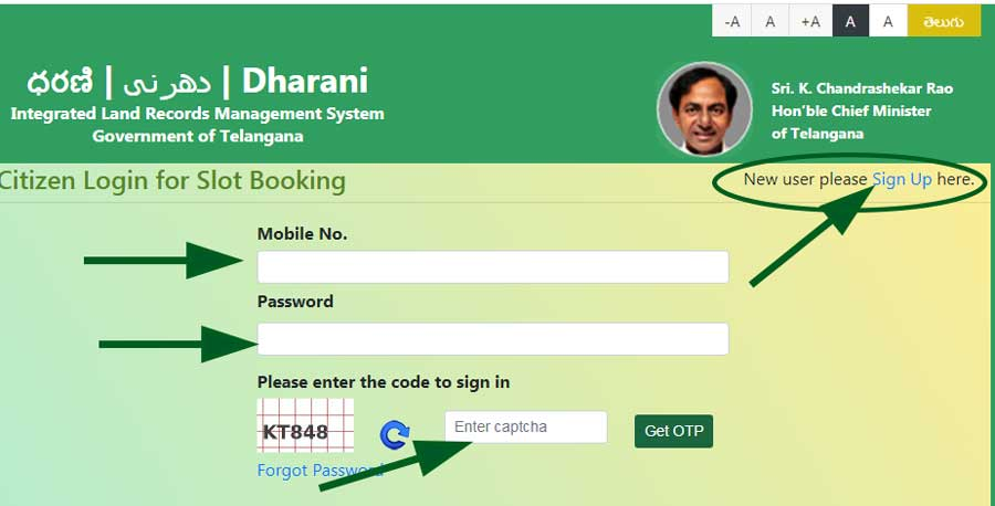 Dharani portal registration