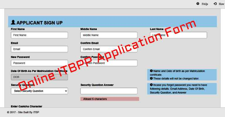 ITBP Application Form