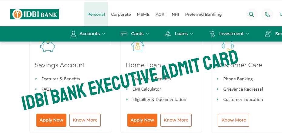 IDBI Bank Admit Card