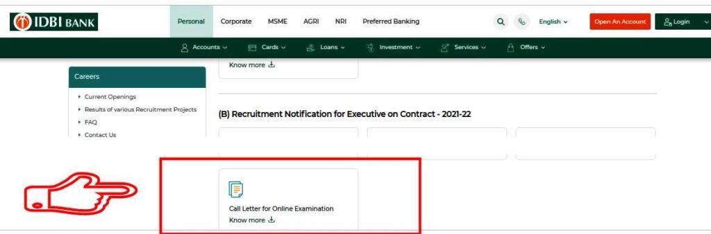 IDBI Executive admit card 2021 Call Letter
